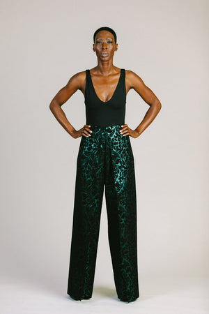 Emerald Wrap Pant with Velvet
