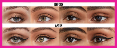 before and after maybelline eyeliner