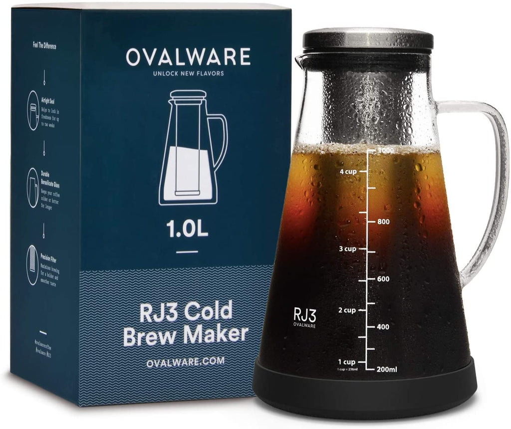 Iced Coffee Maker and Tea Infuser with Spout - 1.0L Ovalware RJ3 Brewing Glass Carafe with Removable Stainless Steel Filter