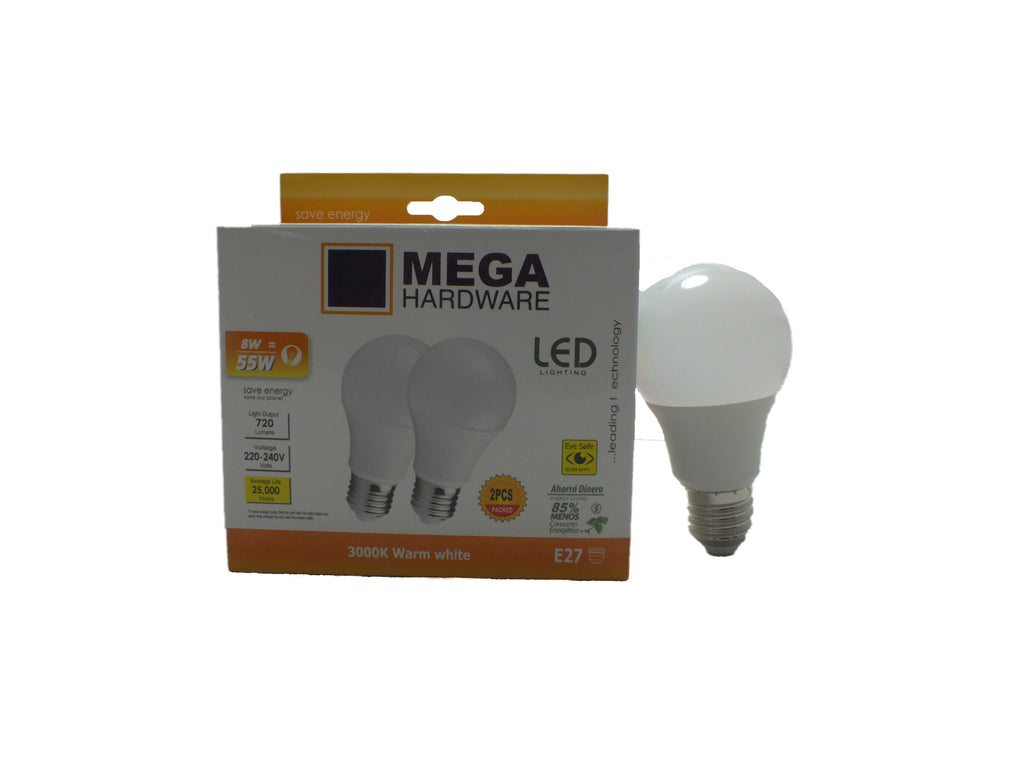 Mega Warm LED Bulb 8W 2Pcs