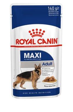 ROYAL CANIN Maxi Adult Suitable for all large dogs between 15 months to 8 years old that weigh between 26 to 44 kg, ROYAL CANIN® Maxi Adult in Gravy is specially formulated with all the nutritional needs of your adult dog.