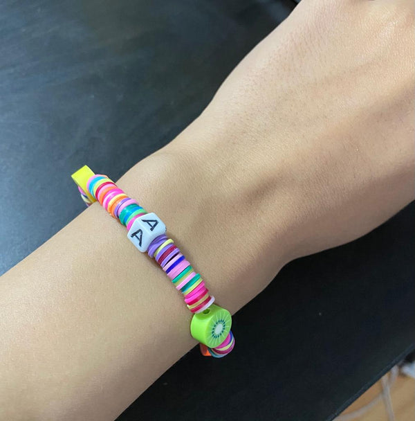 Colorful fruits bracelet with letters (you can customize your own, Arabic/ English letters) 14cm -18cm