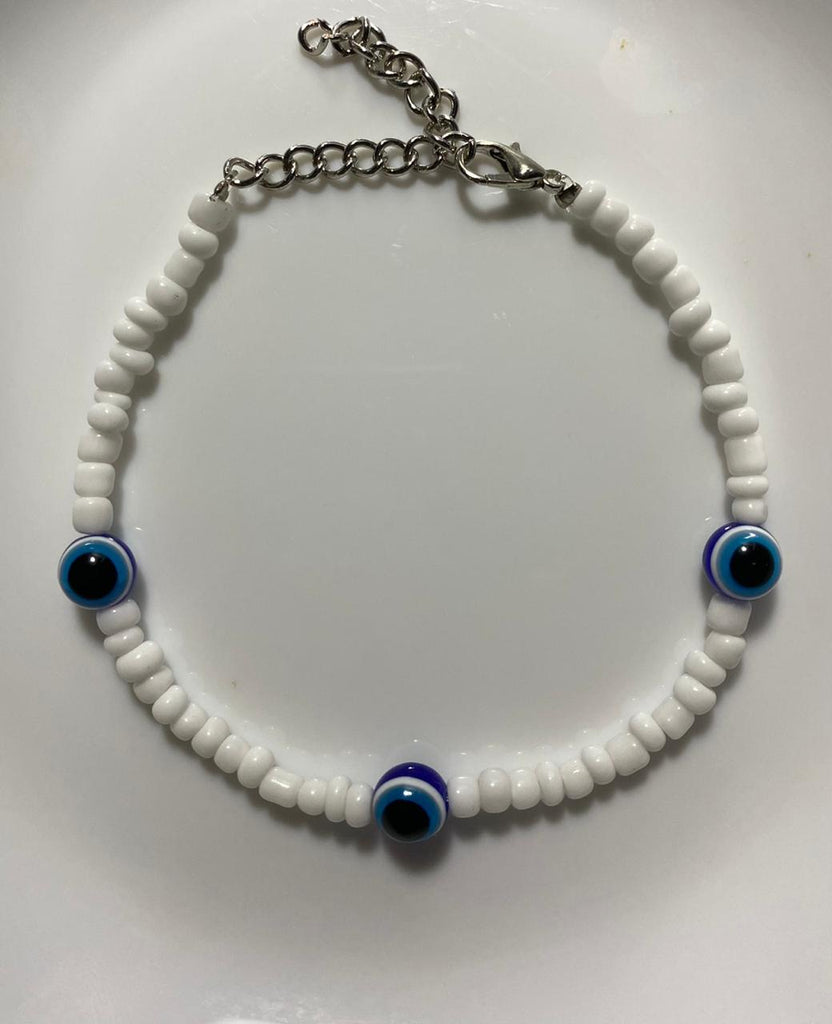 White 3 blue eyes anklet 19cm - 23cm / Blue pearls