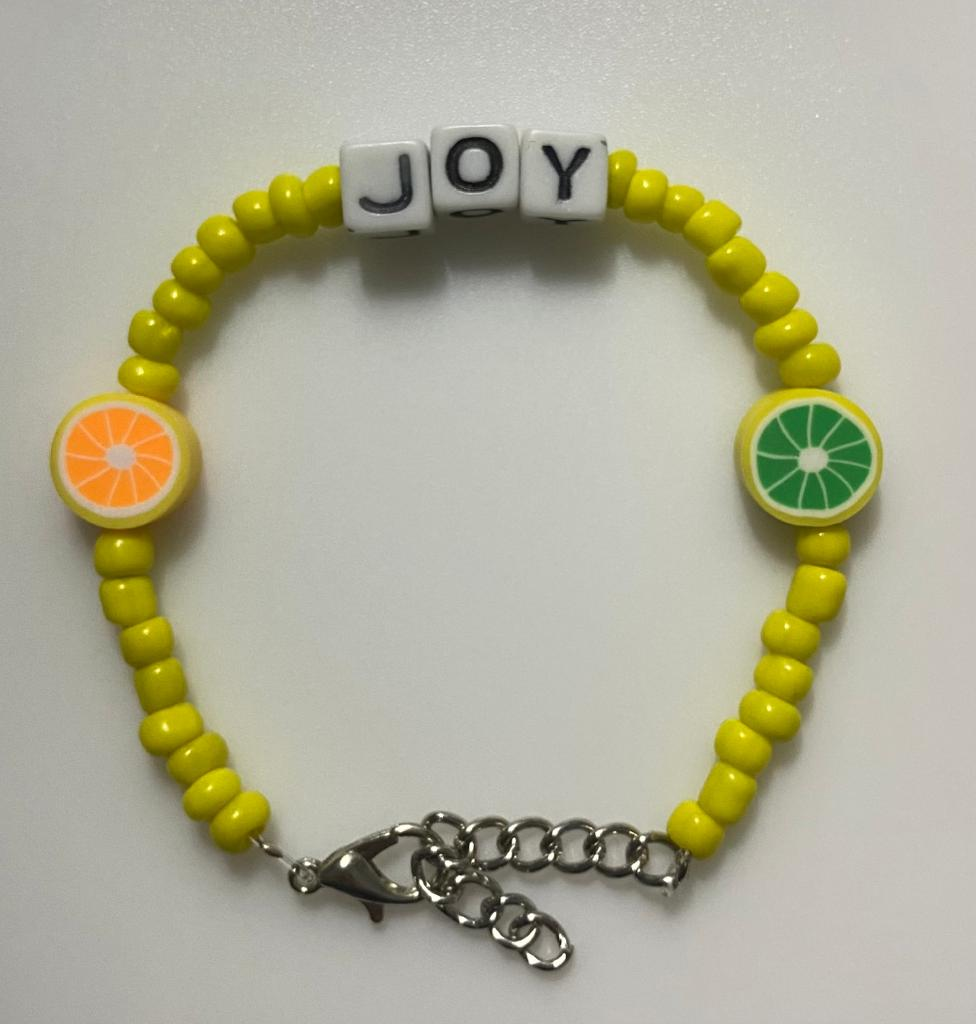 Yellow fruits bracelet (Joy) (you can customize your own, Arabic/English letters) 14cm-18cm