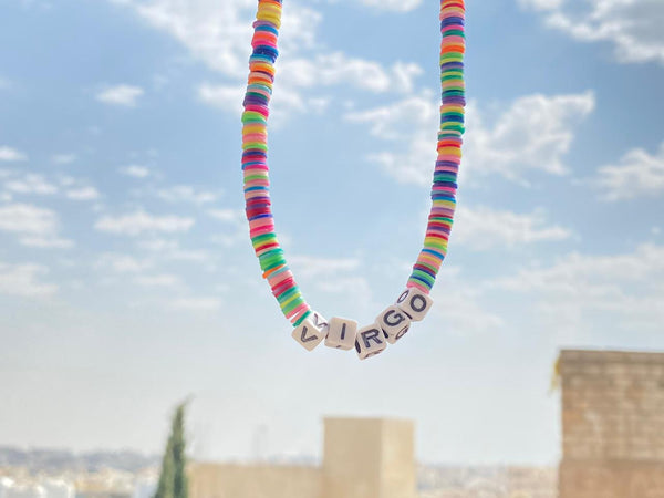 Colorful beaded choker with custom Name 35cm-38cm