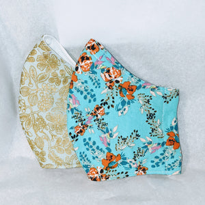 Made to Order Mask-  light turquoise floral