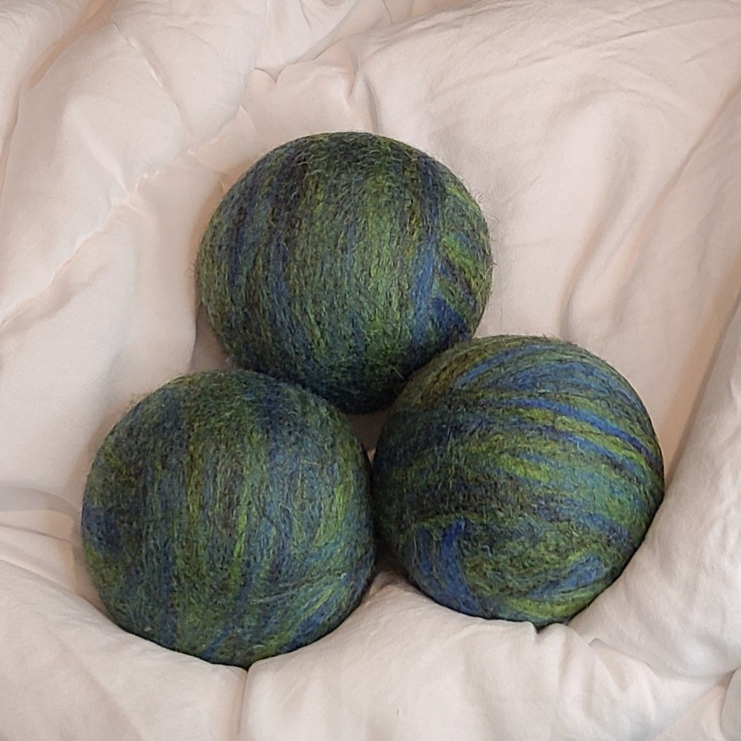 Dryer Balls- Set of 3 Hand Felted Balls - Apatite