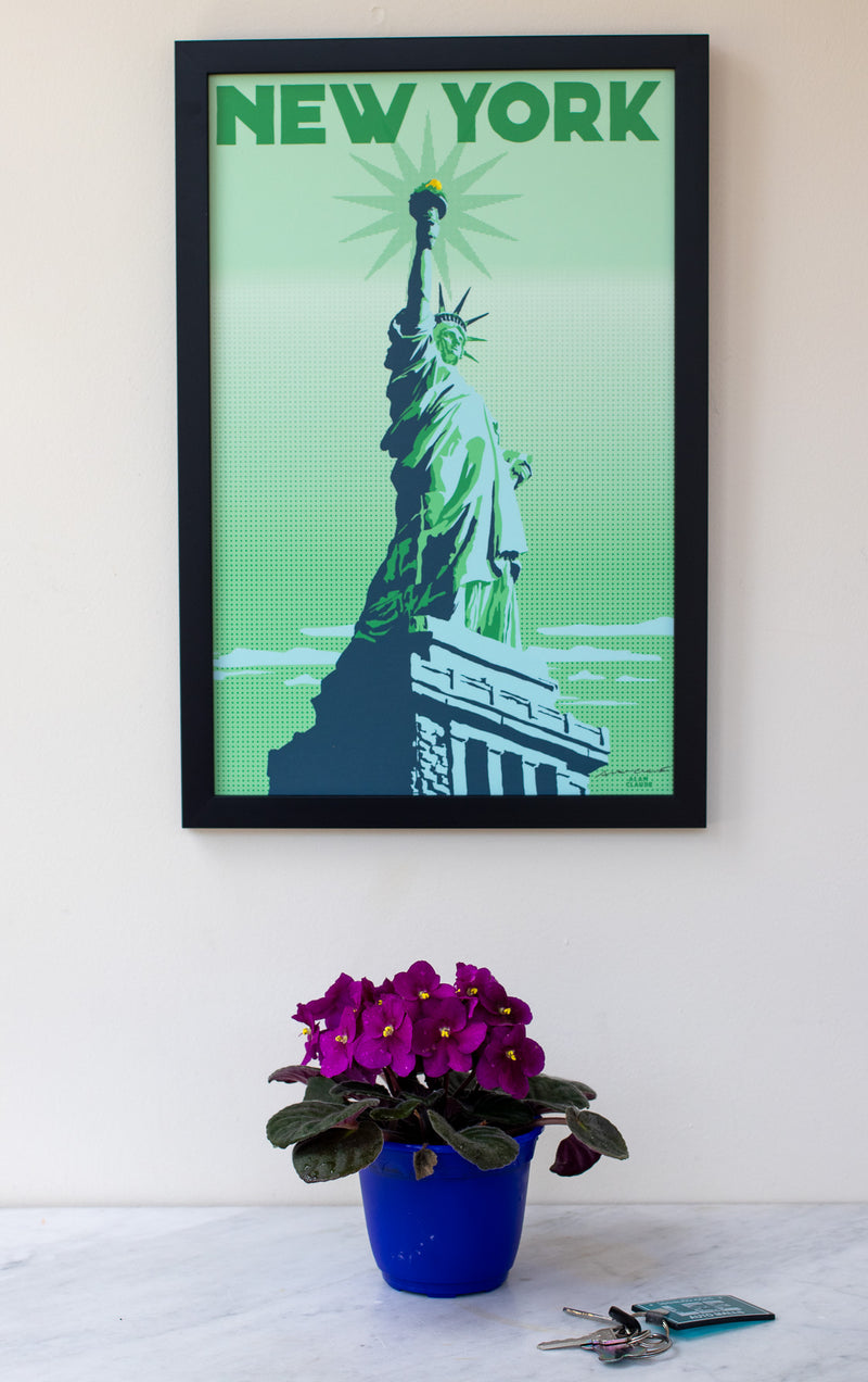 "Statue Of Liberty Art Print 11"" x 17"" Framed Travel Poster - New York"