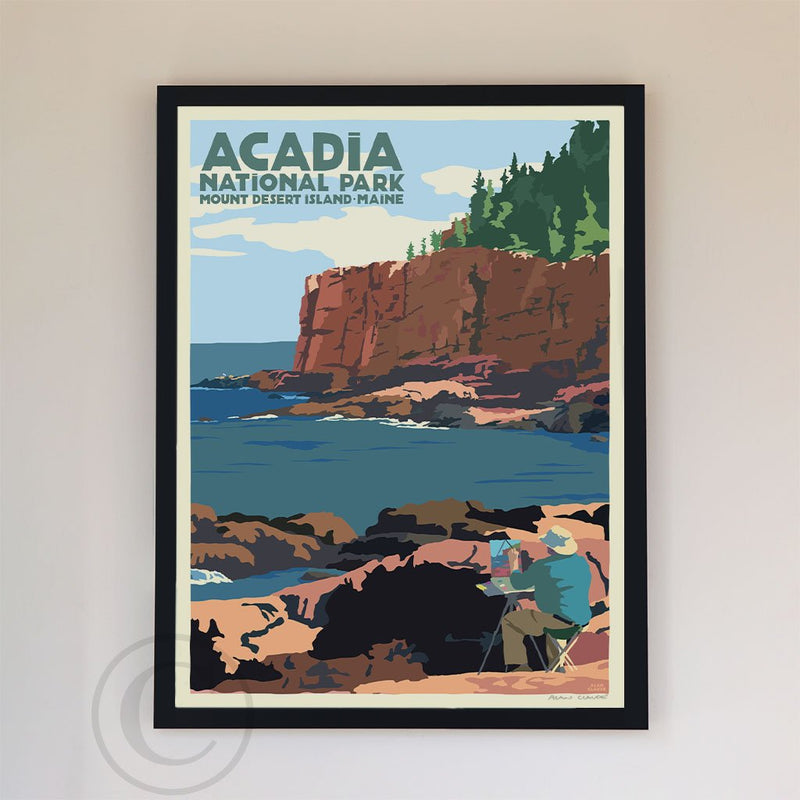 "Painting In Acadia National Park Art Print 18"" x 24"" Framed Wall Poster By Alan Claude"