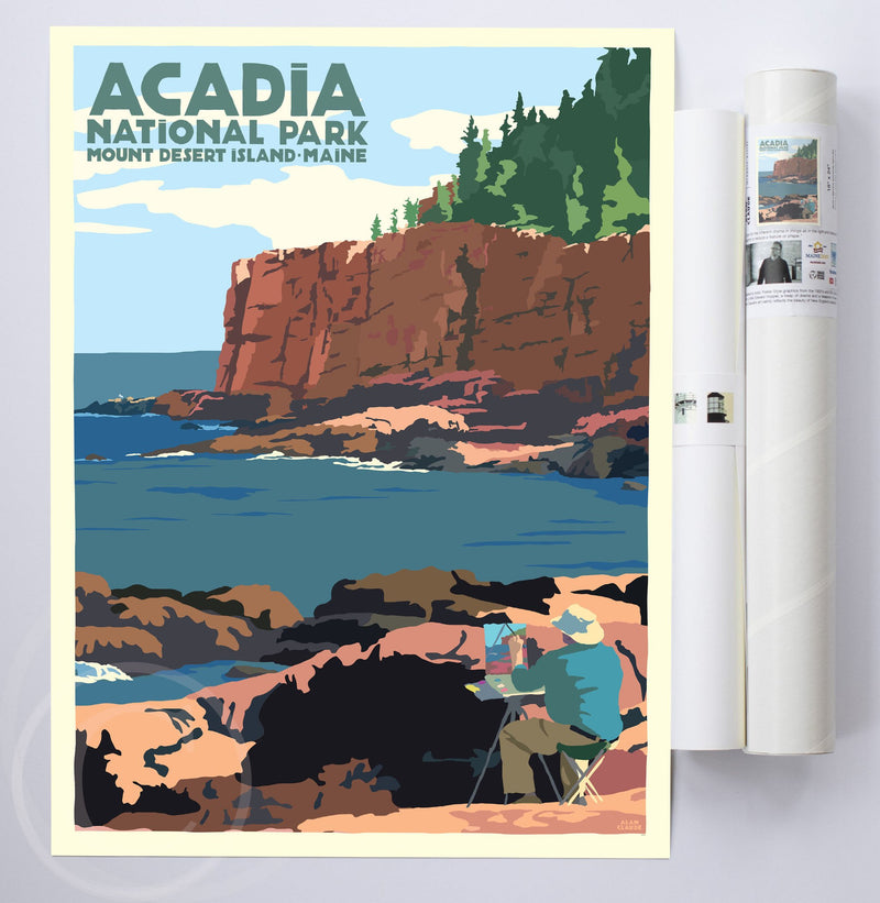 "Painting In Acadia National Park Art Print 18"" x 24"" Wall Poster By Alan Claude"