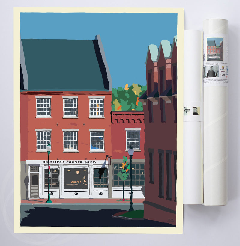 "Cafe in Gardiner Art Print 18"" x 24"" Wall Poster By Alan Claude"