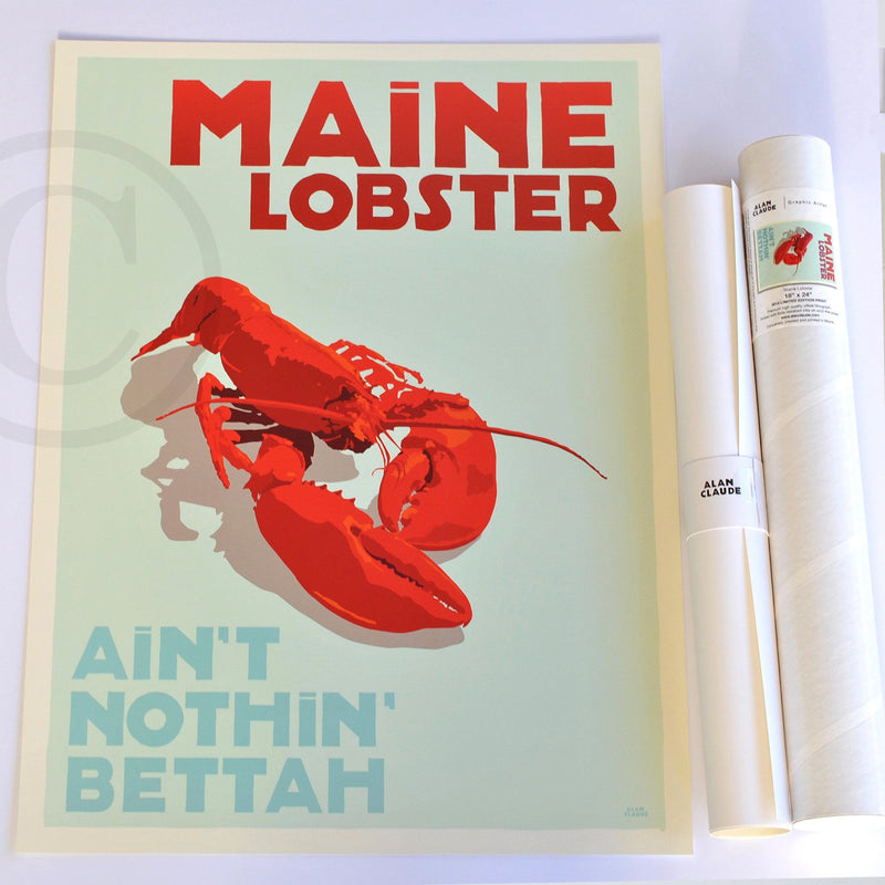 "Maine Lobster Art Print 18"" x 24"" Travel Poster - Maine"