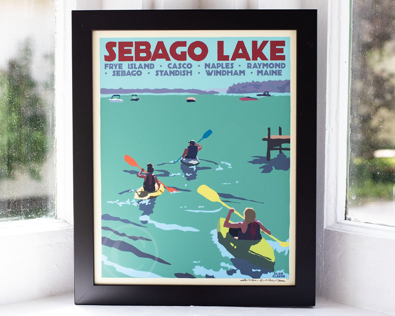 "Sebago Lake kayakers Art Print 8"" x 10"" Framed travel Poster - Maine by Alan Claude"