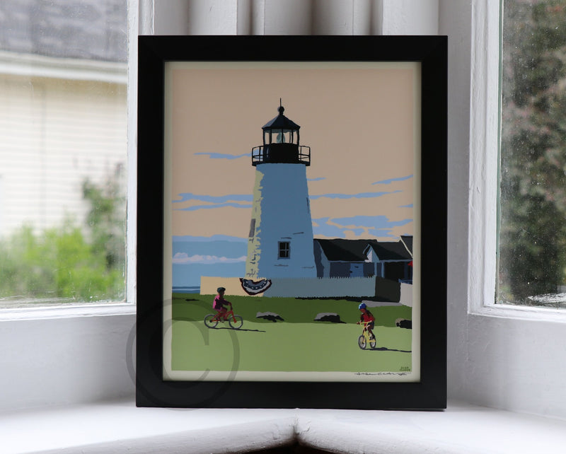 "Pemaquid Bicycle Girls Art Print 8"" x 10"" Framed Poster - Maine"