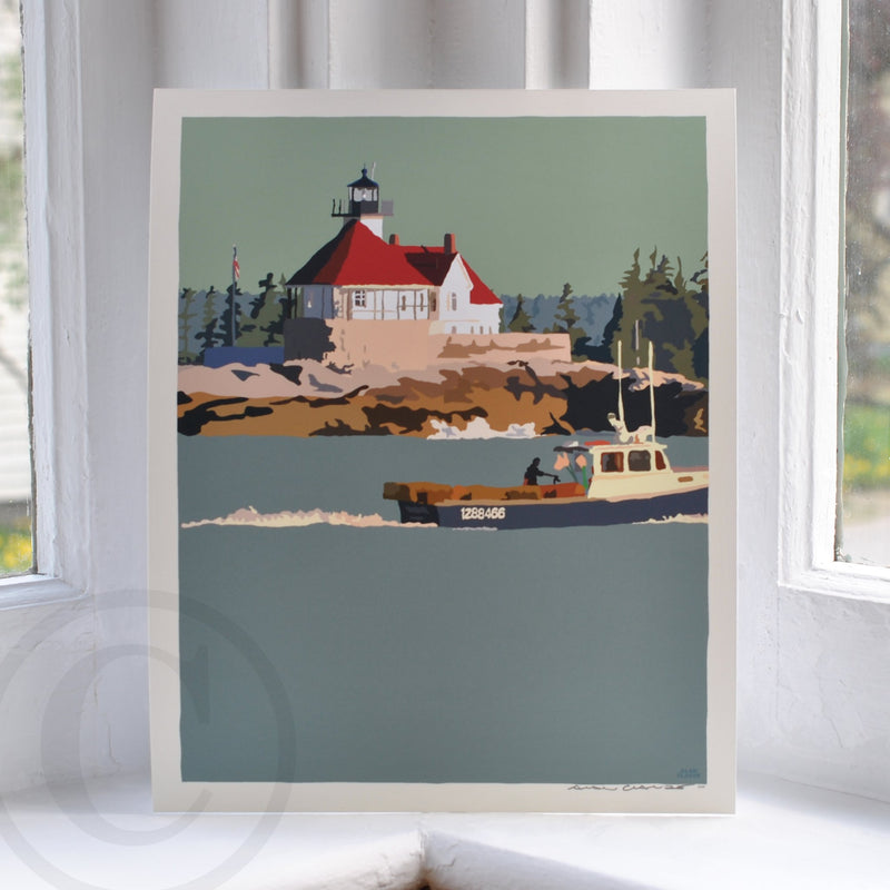 "Lobstering at the Cuckolds Light Art Print 8"" x 10"" Wall Poster - Maine"
