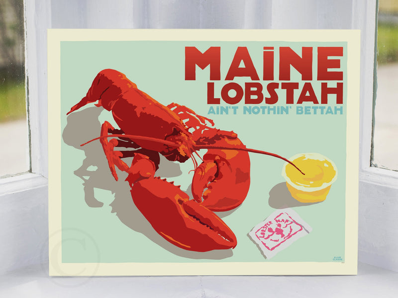 "Maine Lobstah With Butter Art Print (Horizontal) 8"" x 10"" Wall Poster By Alan Claude"