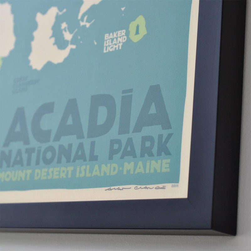 "Acadia National Park Map Art Print 18"" x 24"" Framed Travel Poster - Maine"