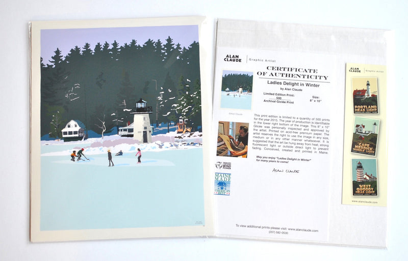 "Ice Skating At Ladies Delight Art Print 8"" x 10"" Wall Poster - Maine"