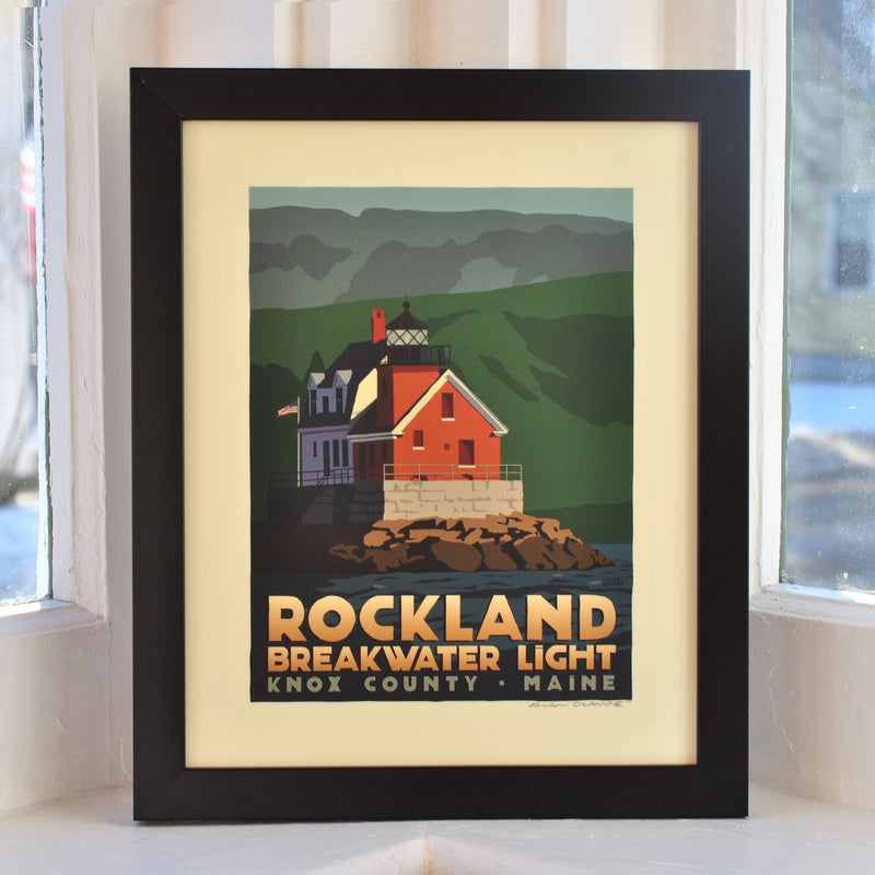 "Rockland Breakwater Light Art Print 8"" x 10"" Framed Travel Poster - Maine"