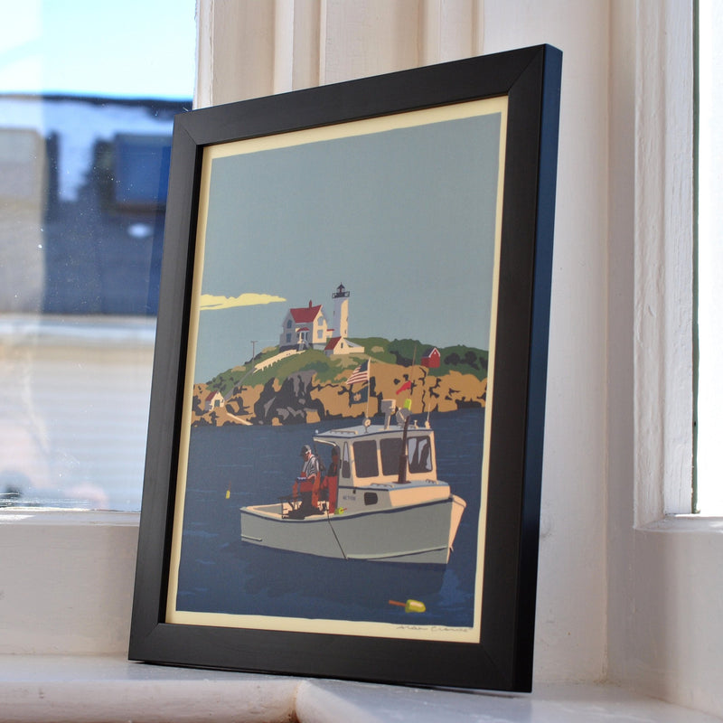 "Lobstering at the Nubble Art Print 8"" x 10"" Framed Wall Poster - Maine"