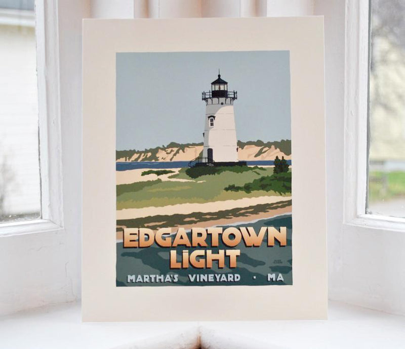 "Edgartown Light Art Print 8"" x 10"" Travel Poster - Massachusetts"