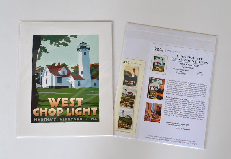 "West Chop Light Art Print 8"" x 10"" Travel Poster - Massachusetts"