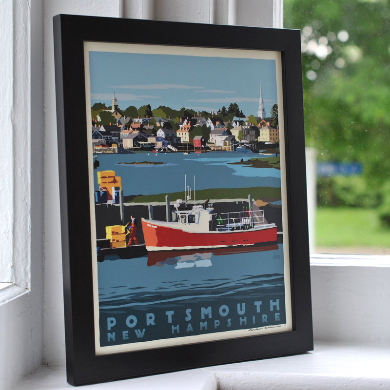 "Portsmouth Lobster Boat Art Print 8"" x 10"" Framed Travel Poster - New Hampshire"