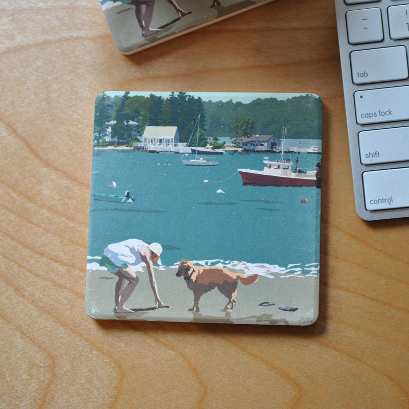 "Golden Retriever At Beach ""Go Fetch"" Art Drink Coaster - Maine"