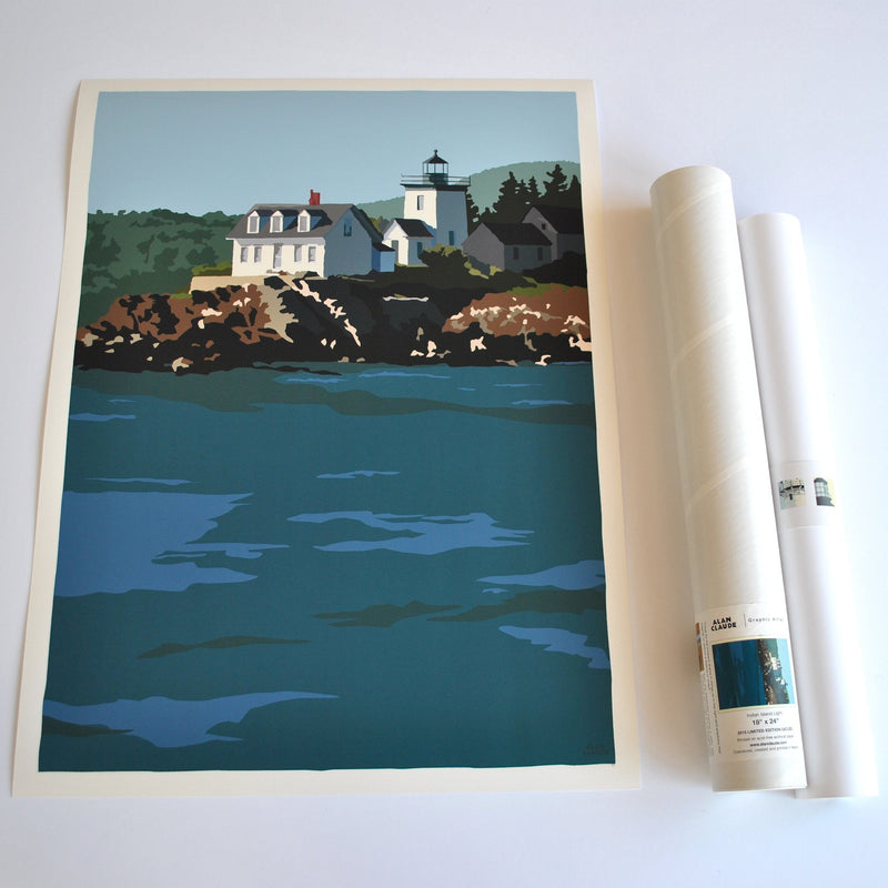 "Indian Island Light Art Print 18"" x 24"" Wall Poster - Maine"