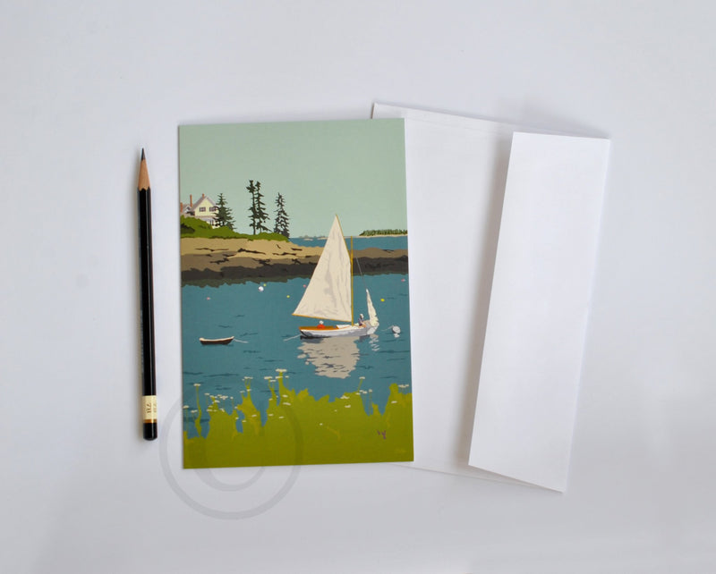"Sailing Long Cove  Notecard 5"" x 7""  - Maine"