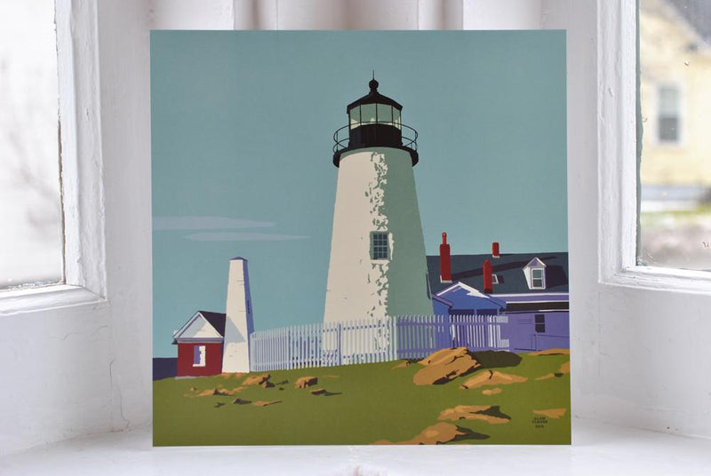 "Pemaquid Point Light Art Print 8"" x 8"" Square"