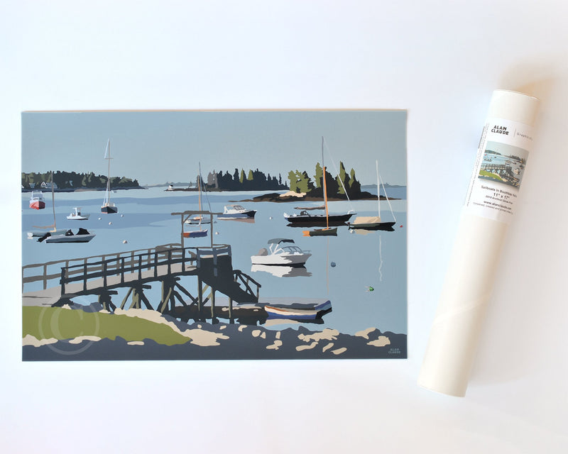 "Sailboats in Boothbay Harbor Art Print 11"" x 17"" Travel Poster - Maine"