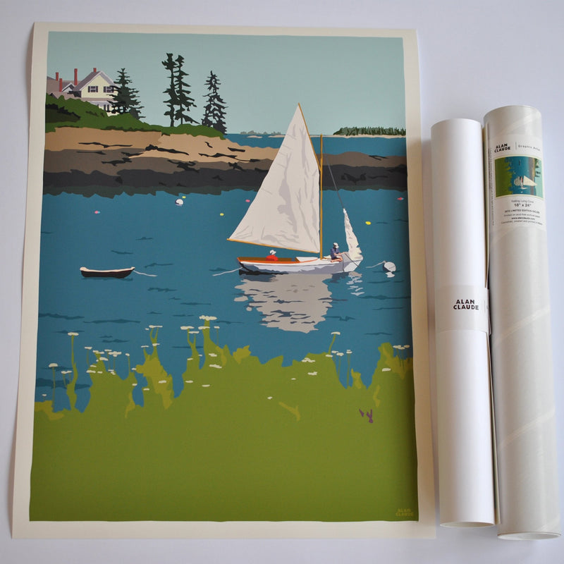 "Sailing Long Cove Art Print 18"" x 24"" Wall Poster - Maine"
