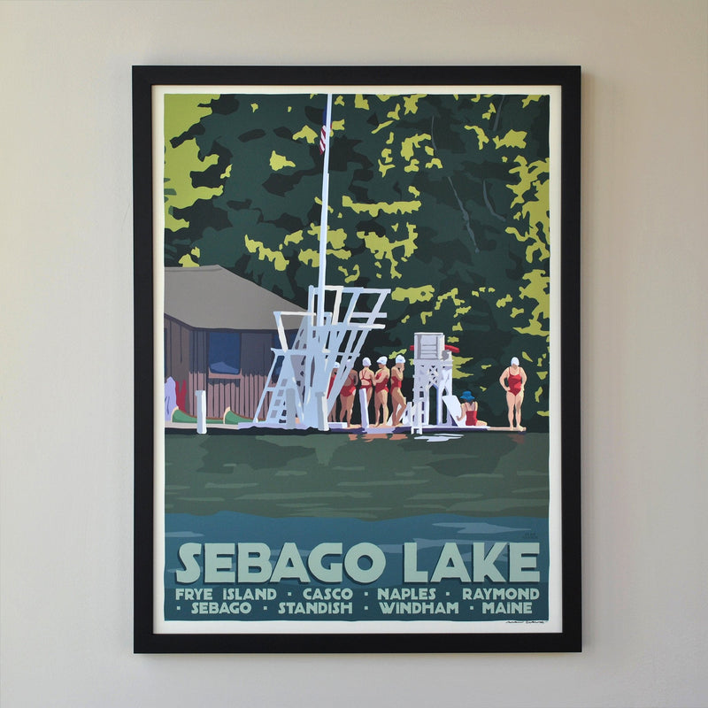 "Sebago Lake Swimmers Art Print 18"" x 24"" Framed Travel Poster - Maine"