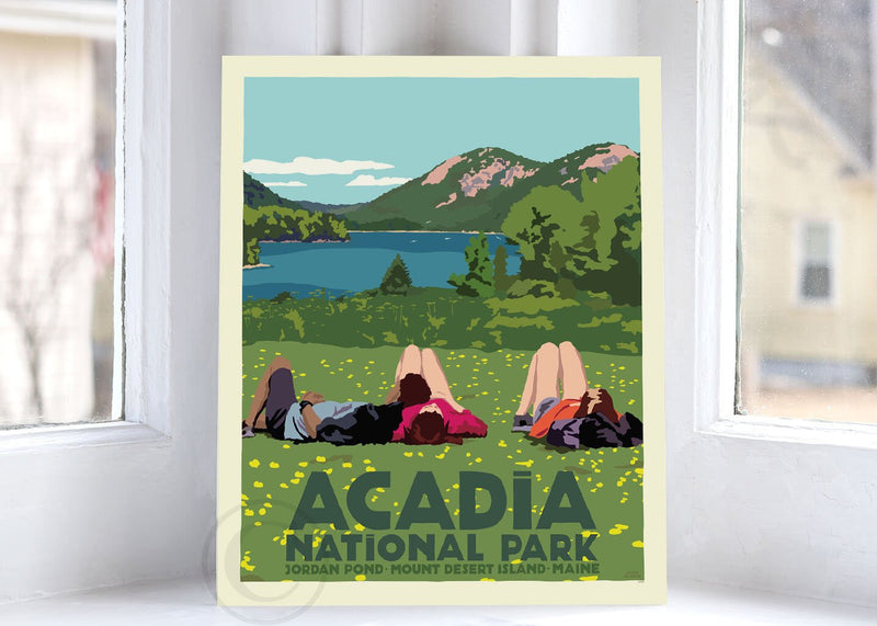 "Hikers in Acadia National Park Art Print 8"" x 10"" Wall Poster By Alan Claude"