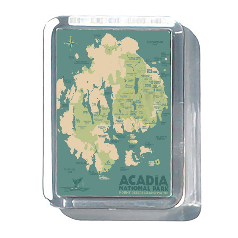 "Acadia National Park Map 2"" x 2 3/4"" Acrylic Magnet - Maine"