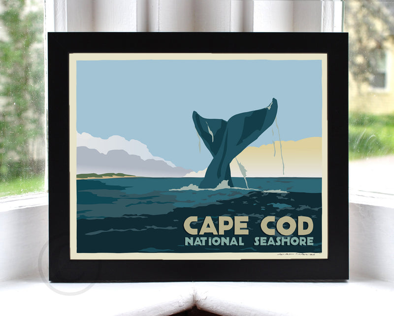 "Cape Cod Whale Tail Art Print 8"" x 10"" Framed Travel Poster - Massachusetts"