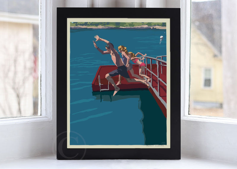 "Go Jump In A Lake Art Print 8"" x 10"" Framed Wall Poster By Alan Claude"