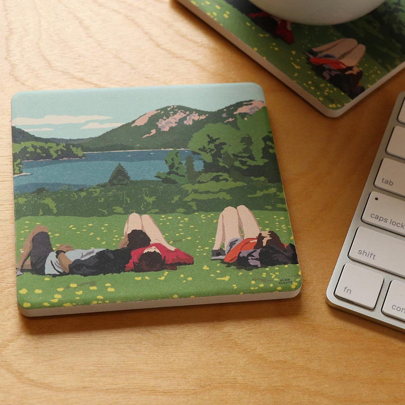 Hikers in Acadia National Park Art Drink Coaster - Maine