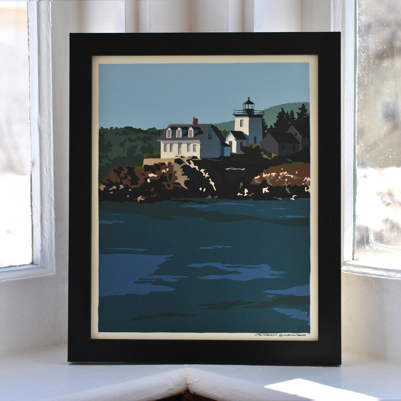 "Indian Island Light Art Print 8"" x 10"" Framed Wall Poster - Maine"