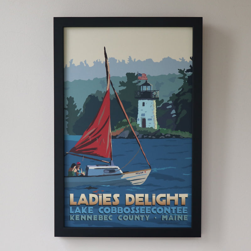 "Sailing Ladies Delight Art Print 11"" x 17"" Framed Travel Poster - Maine"