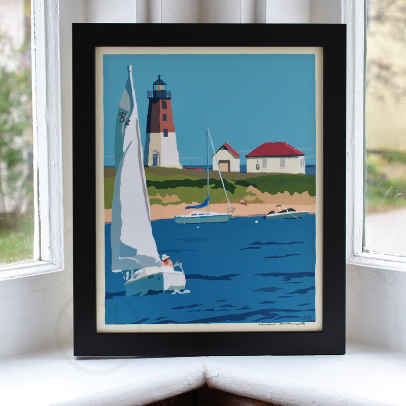"Point Judith Light Art Print 8"" x 10"" Framed Wall Poster - Rhode Island"