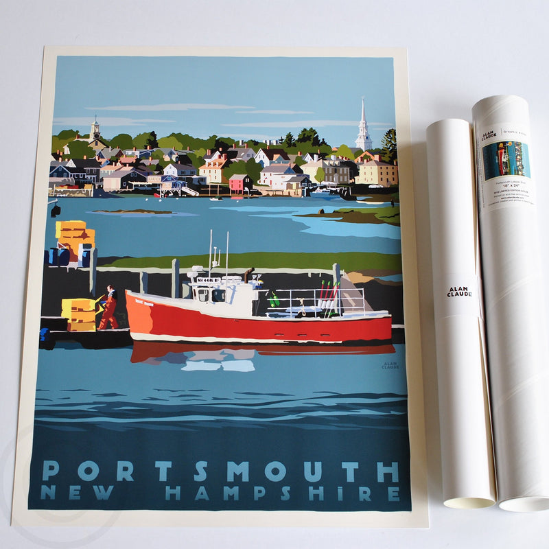 "Portsmouth Lobster Boat Art Print 18"" x 24"" Travel Poster - New Hampshire"