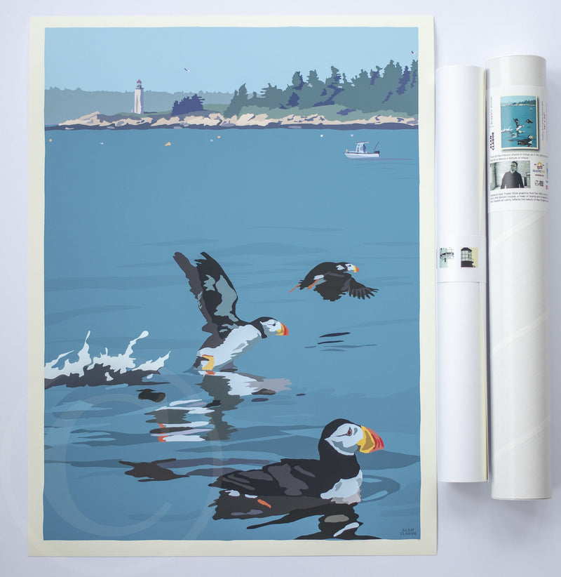 "Puffins At Franklin Island Art Print 18"" x 24"" Wall Poster"
