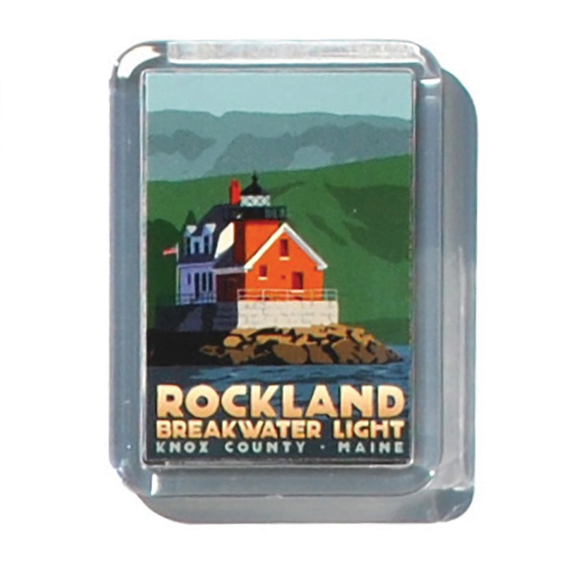 "Rockland Breakwater Light 2"" x 2 3/4"" Acrylic Magnet - Maine"
