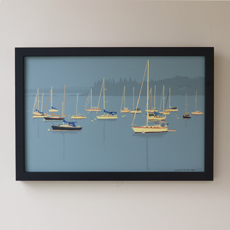 "Sailboats in Rockland Harbor Art Print 11"" x 17"" Framed Wall Poster - Maine"