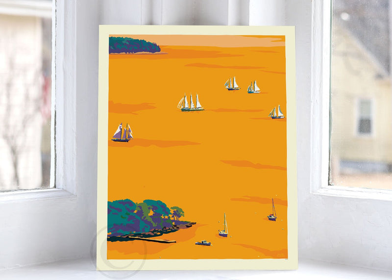 "Sunset Schooners in Camden Harbor Art Print 8"" x 10"" Wall Poster By Alan Claude"