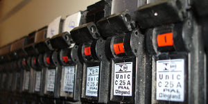 close-up of circuit breaker switches