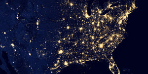 united states map of lights at night from space
