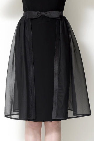 Black Silk Organza Over Skirt